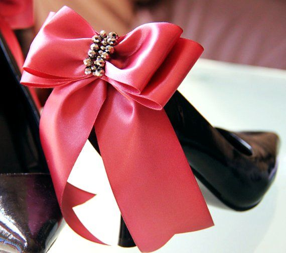 Claudia - Coral pink Satin bow shoe clips for the heels
