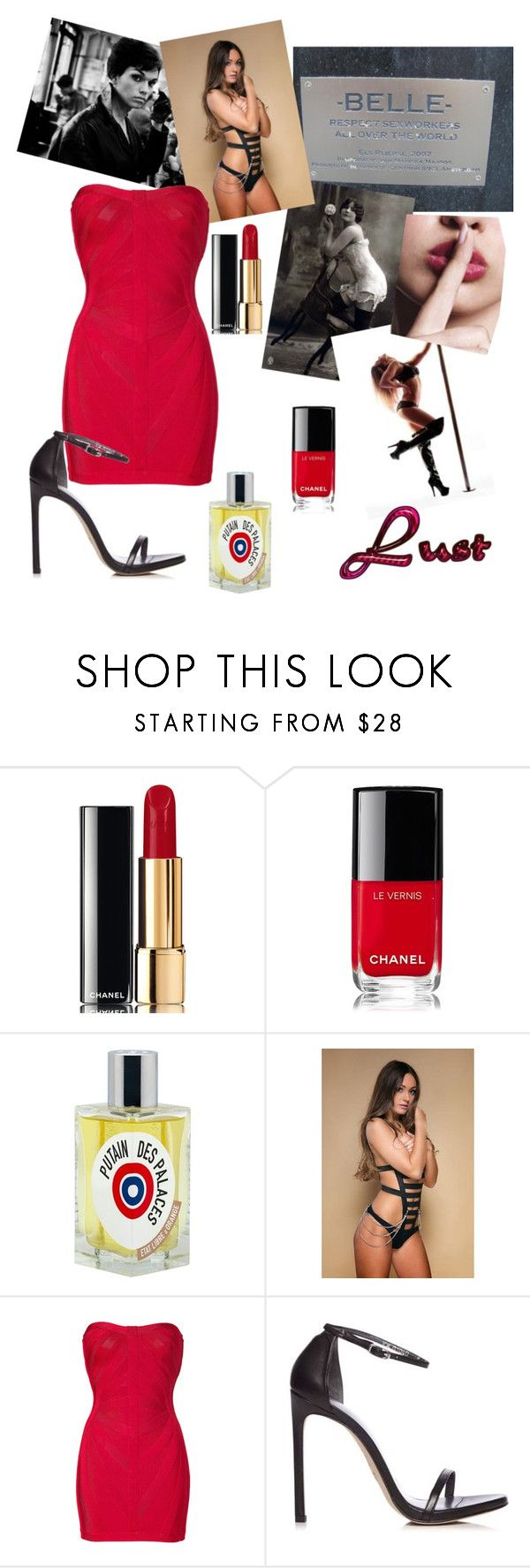 """Lust"" by confusioninme ❤ liked on Polyvore featuring Chanel, Etat Libre D'Orange, Hervé Léger and Stuart Weitzman"