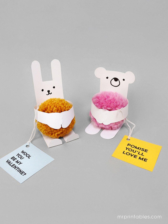Animal Valentine's Day Cards with Pom-poms - Mr Printables