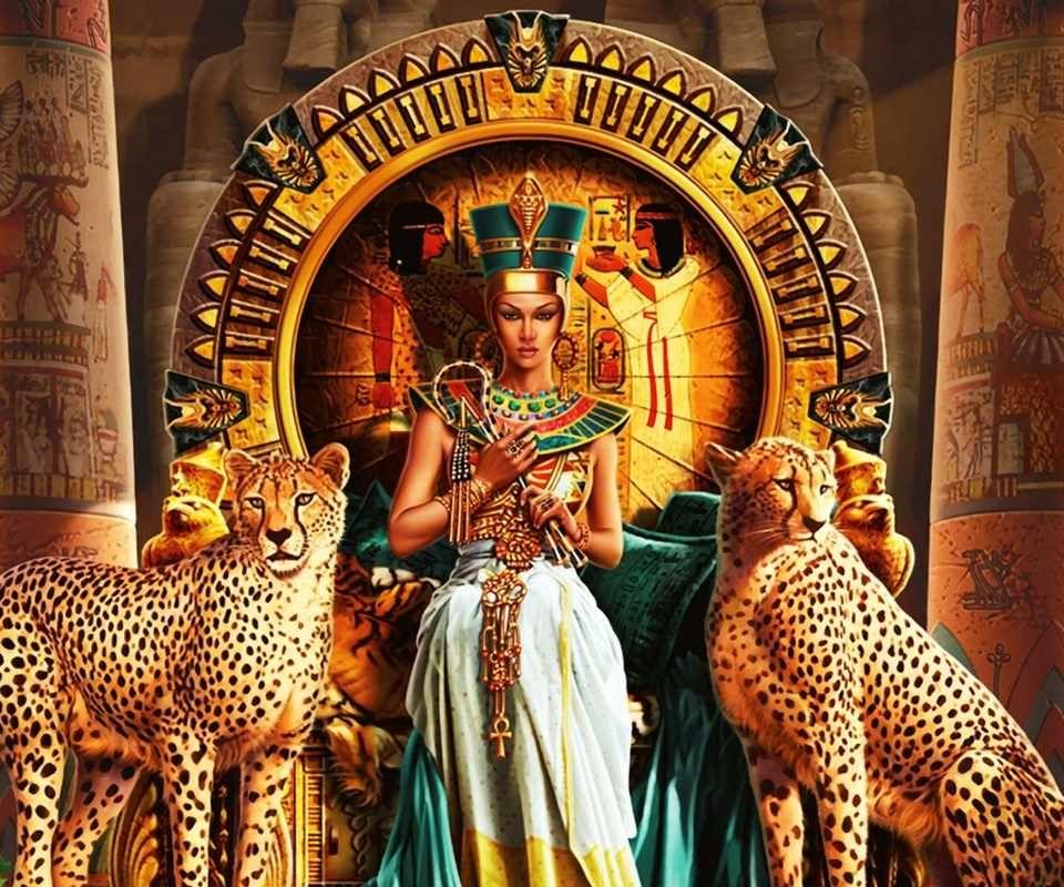 Egyptian Queen. Gostei dos Felinos guardiães.