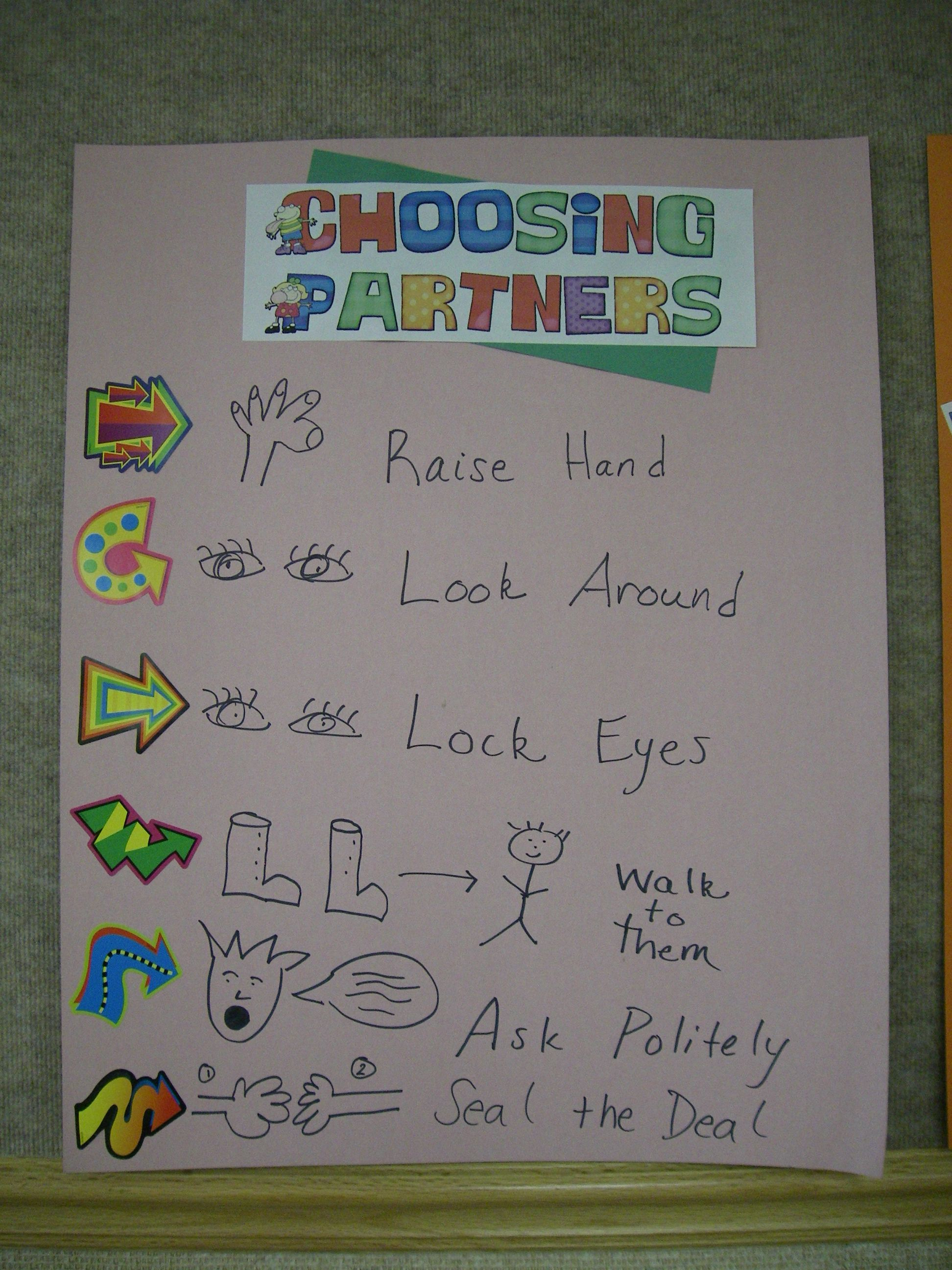 Anchor Chart For Choosing Partners In Read To Someone