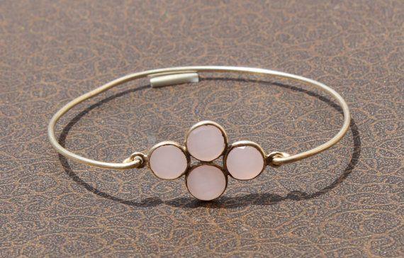 Pink Chalcedony Four Gemstone Attached Bangle by gemsnjewelryworld