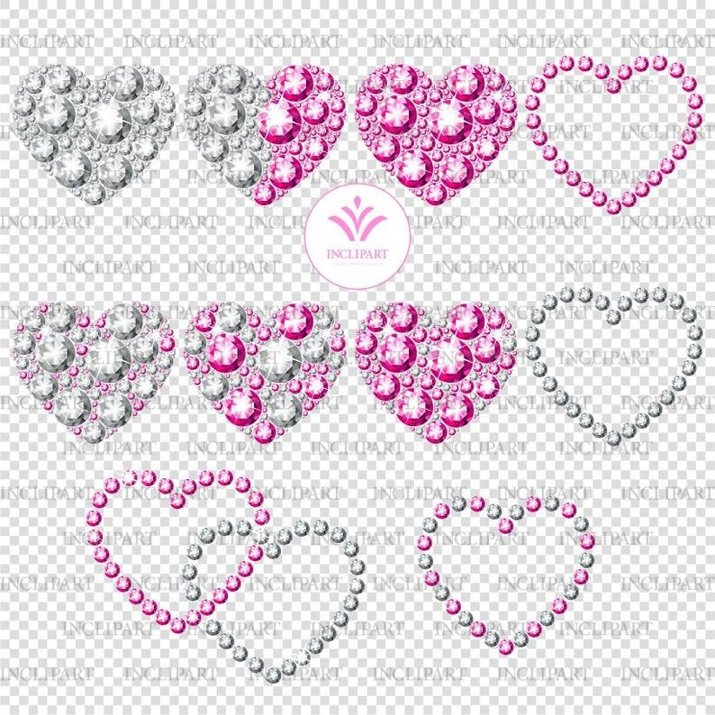 Diamond Heart Png Files Clipart Pink And White Diamond Etsy Heart Clip Art Clip Art Valentines Day Clipart