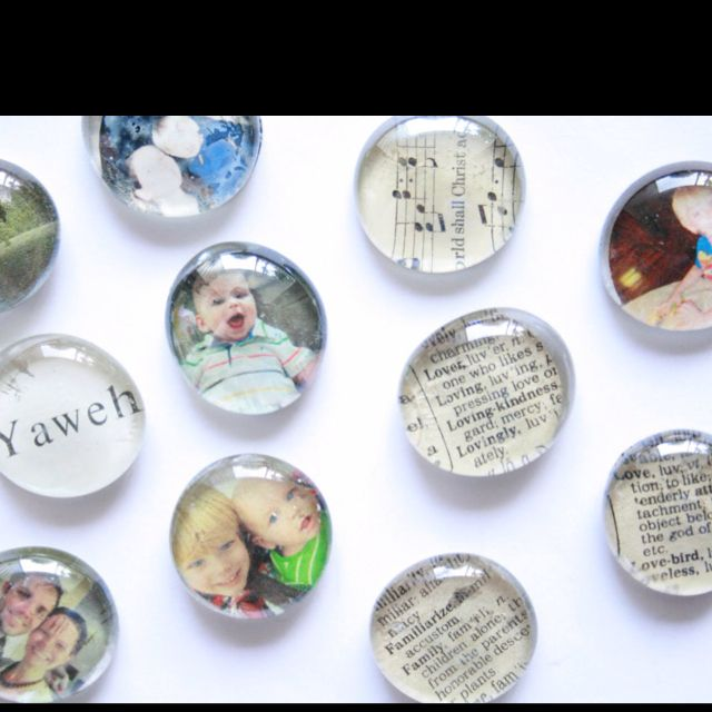 """Photo magnets... Easy way to """"de"""" clutter my fridge!!  http://thecreativeplace.blogspot.com/2011/08/diy-glass-magnets.html"""