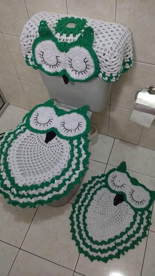 Jogo de banheiro, feito em crochê- inesmoreira60@hotmail.com