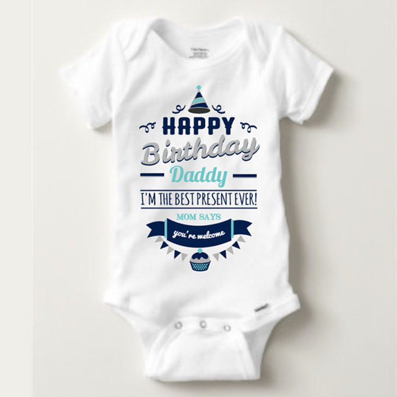 Happy Birthday Daddy ShirtPersonalized BodysuitNovelty GiftBirthday GiftNew Baby Boys Clothes