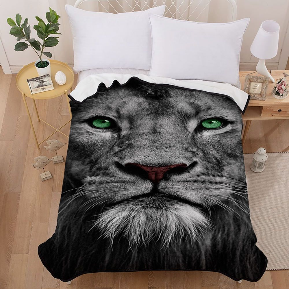 Lion Printed Blanket 3D Printed Black and Gray Mysterious