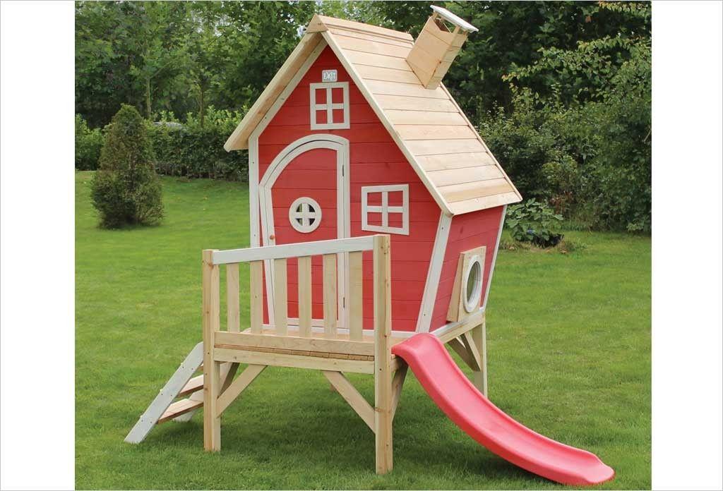 Cabane en bois avec toboggan pour enfant Fantasia 300 Rouge Exit - Maisonnette En Bois Avec Bac A Sable