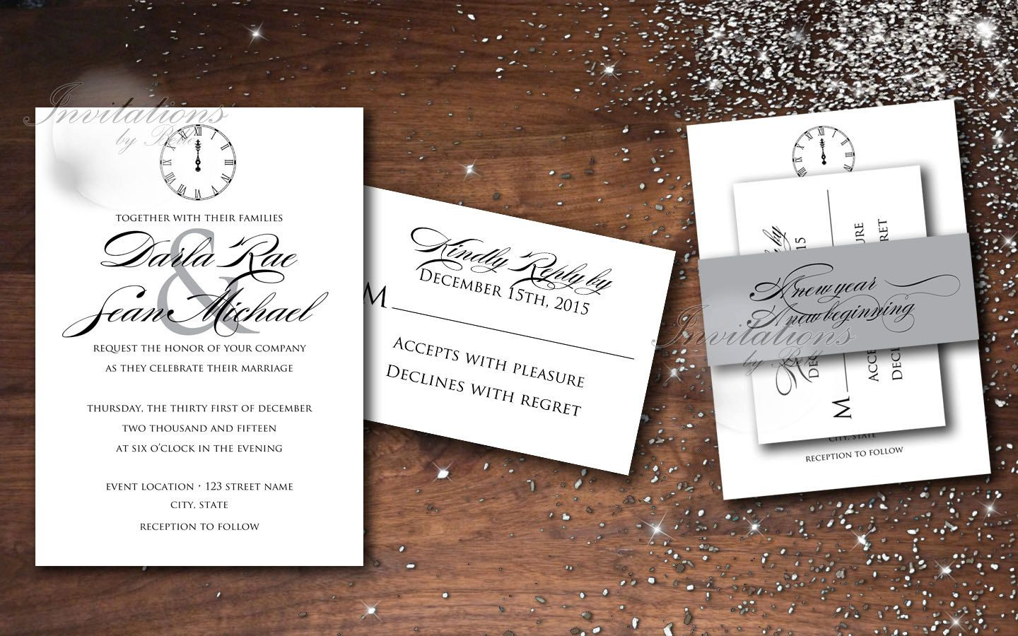 New Years Midnight Clock New Years Wedding by InvitationsbyBelle ...