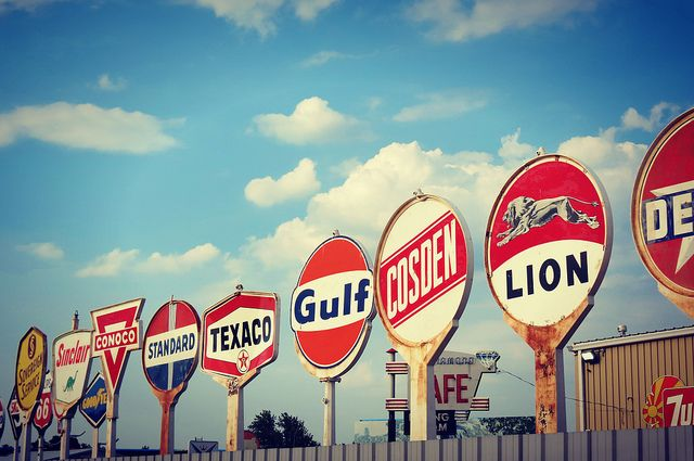 Collected old gas station signs - Stokley Event Center