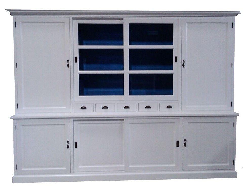 Buffetkast wit - blauw Gieten XL 300cm mega grote landelijke witte ...