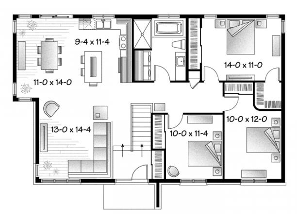 Plano de casa moderna y sencilla de 3 dormitorios y 130 m2 for Casa moderna 60 m2