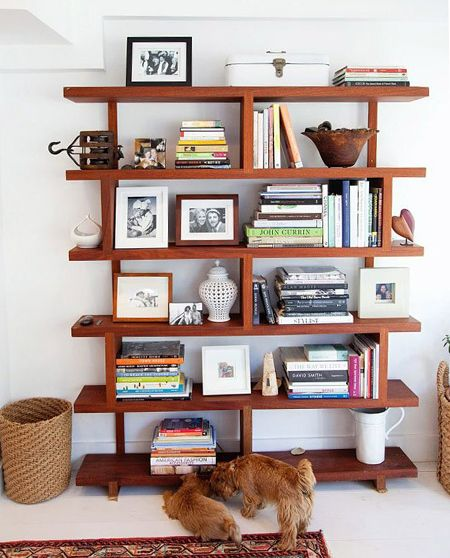 with bookshelf open twig accents cedar