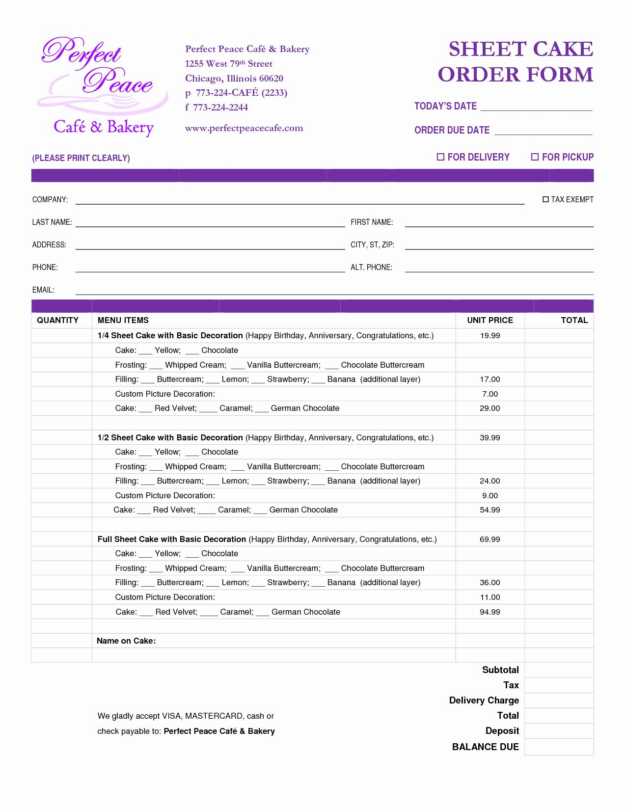 Cake Order Forms Printable New Cake Order Form For Bakery Business Custom Printable Petera Order Form Template Free Doctors Note Template Order Form Template