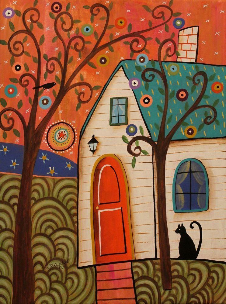 Quaint Cottage 12x16 ORIGINAL CANVAS PAINTING house cat FOLK ART ...
