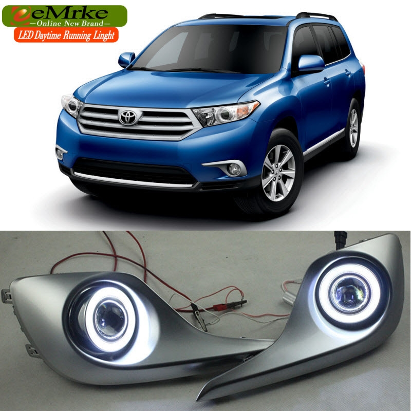 138.00$  Know more - http://aiqfa.worlditems.win/all/product.php?id=32710526129 - eeMrke COB Angel Eyes DRL For Toyota Highlander Kluger Fog Lights H11 55W Halogen Bulbs LED Daytime Running Lights Kits