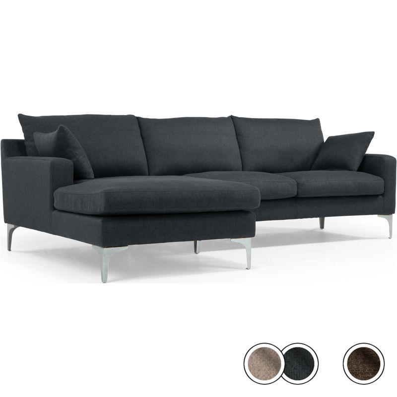 Mendini Left Hand Facing Chaise End Corner Sofa Anthracite Grey Corner Sofa Sofa Grey