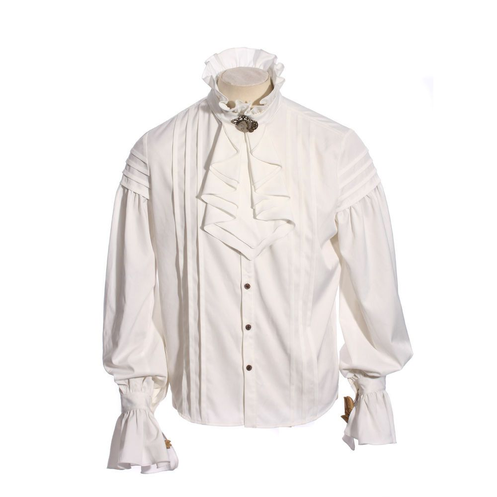 Pirate Shirt Men/'s 100/% Rayon Laced Front Ruffled White Or Black Costume Shirt
