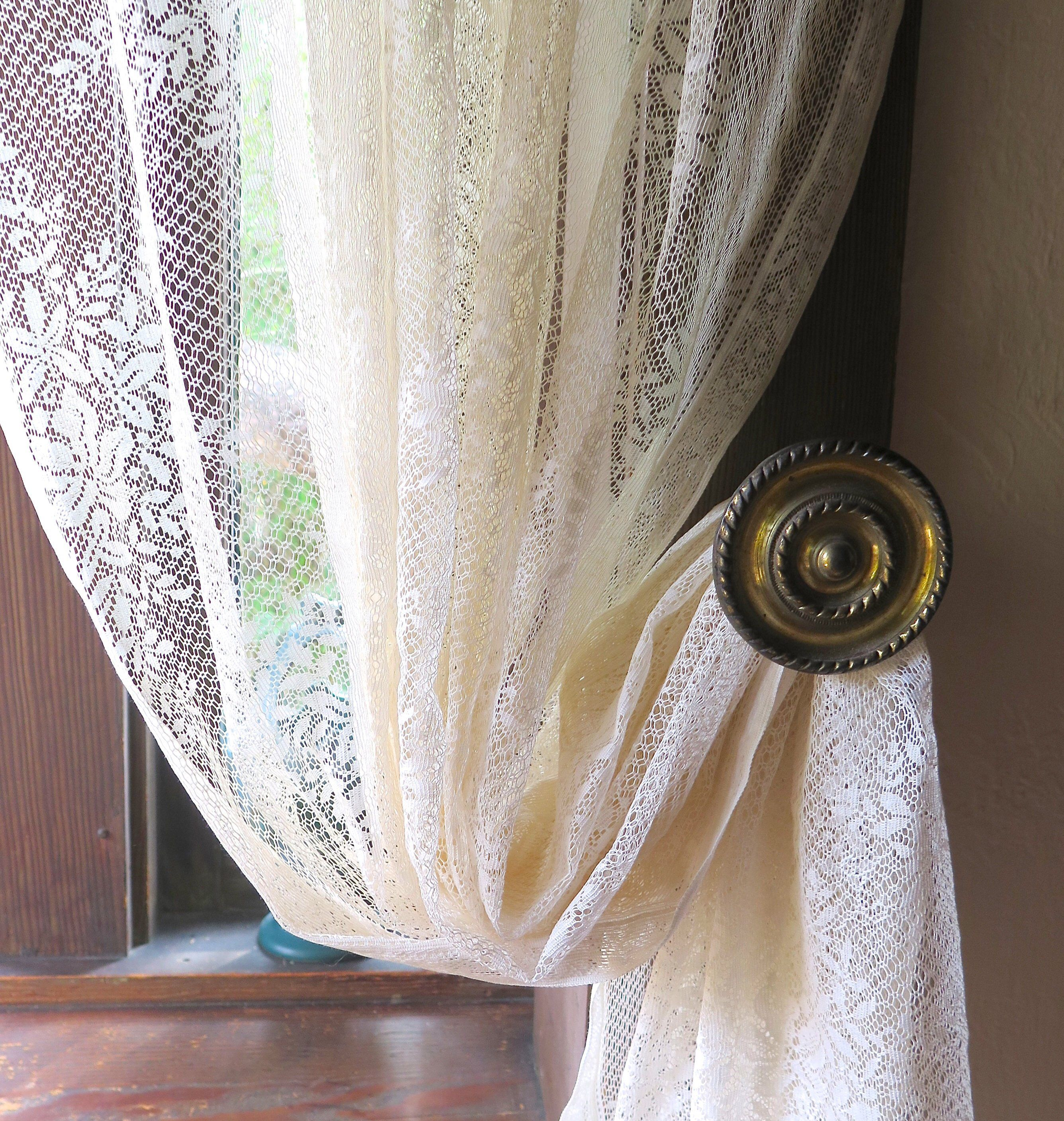 Cotton Lace Curtain Panel In Ivory Vintage 1940 S Lace Curtain