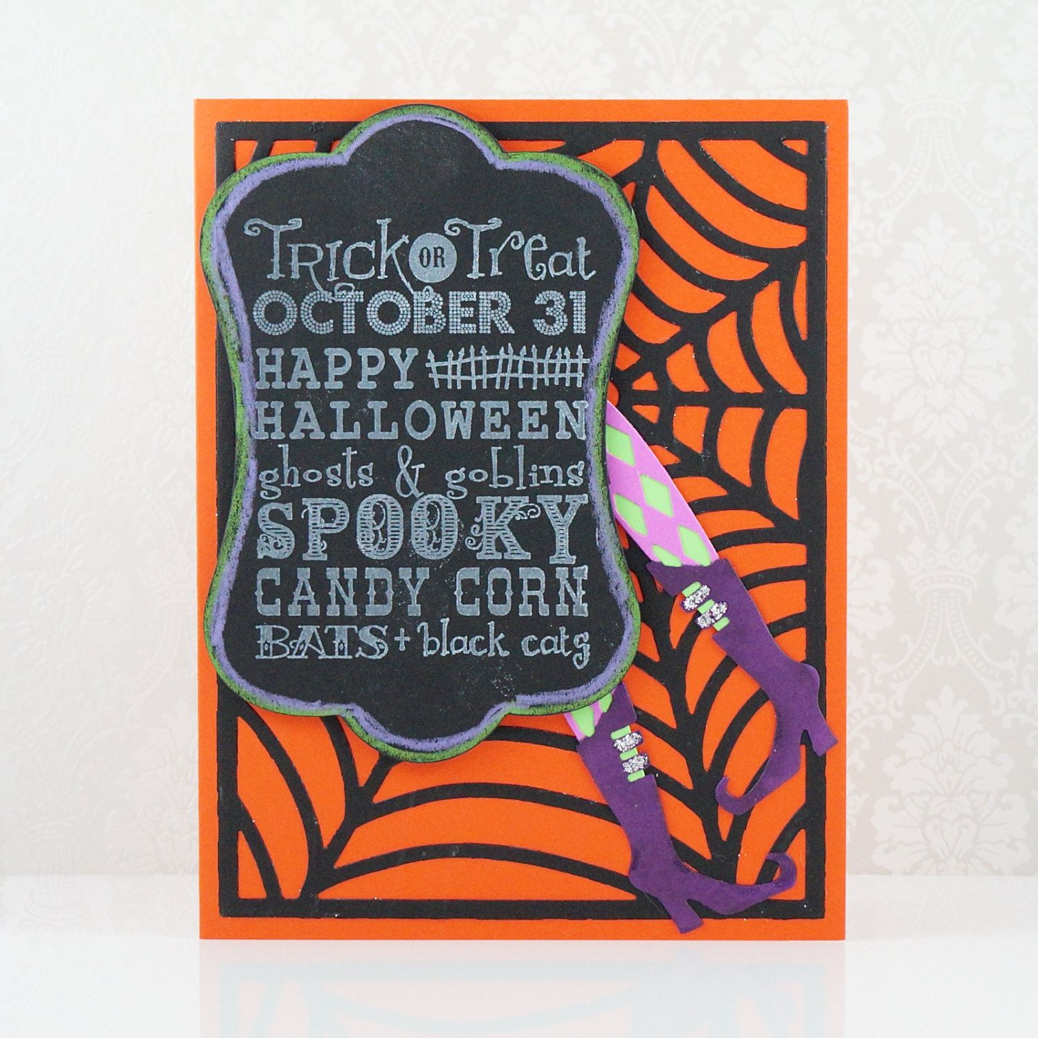 Halloween Cards Spiderweb And Witch Legs Chalkboard Art Tag Die