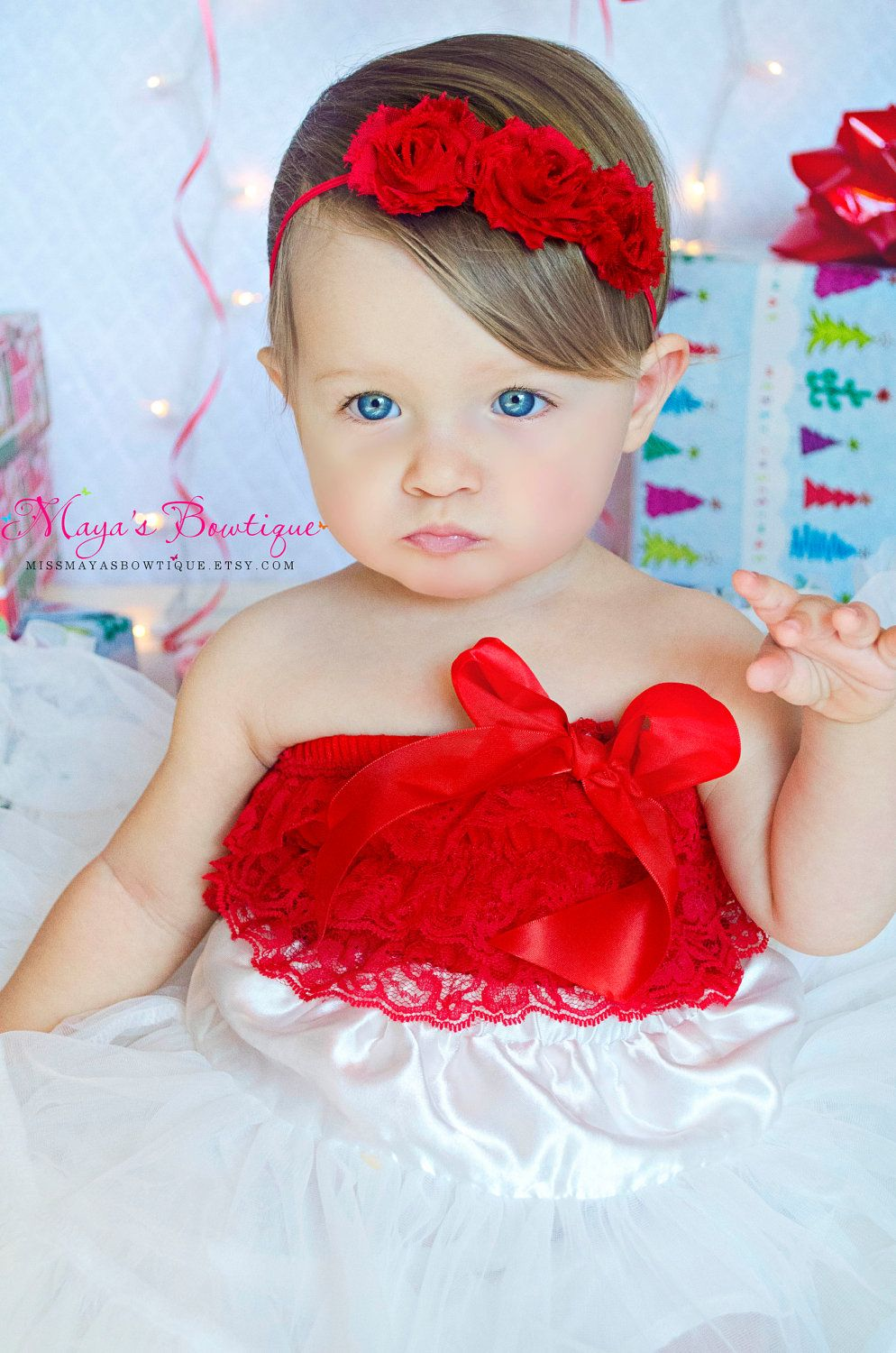 Christmas Headband For Baby Girl.Red Flower Headband Christmas Headband Valentines Day