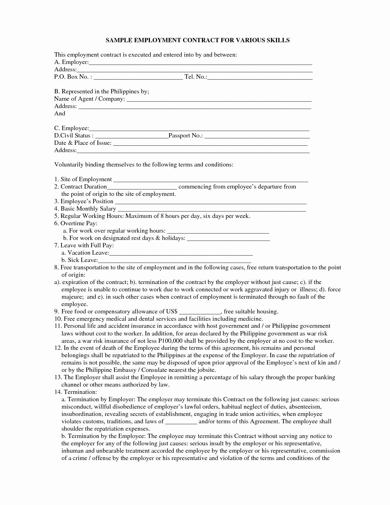 Elegant Construction Employment Contract Sample