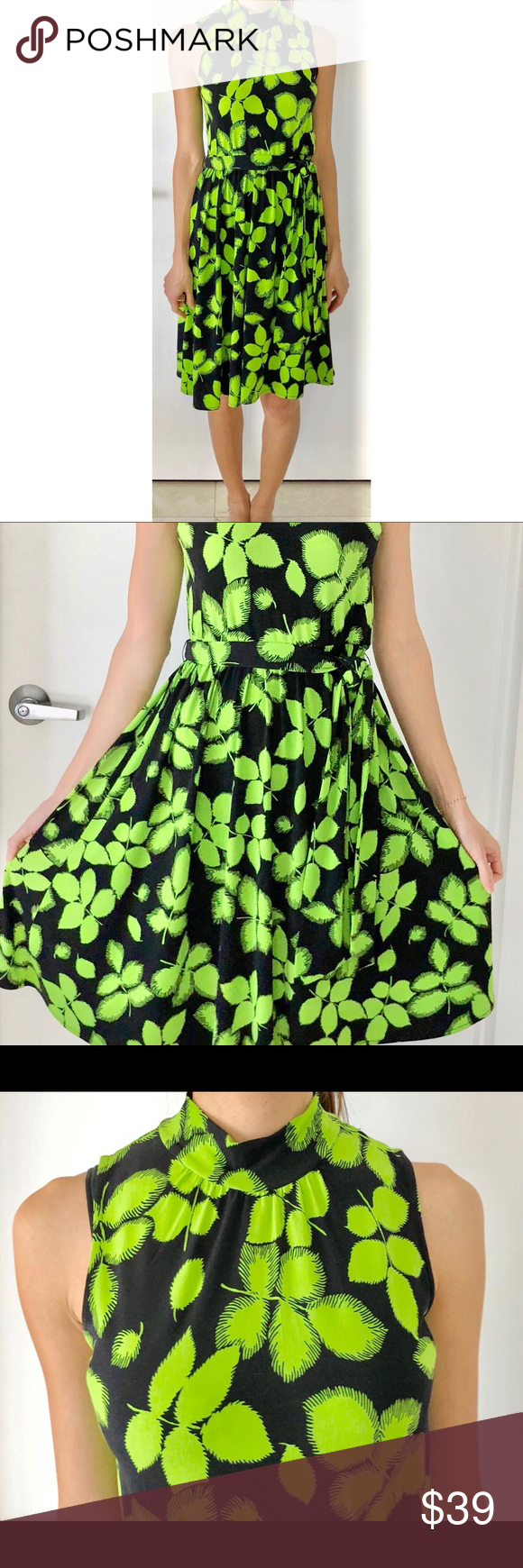 Gorgeous Leaf Print Midi Dress With Vibrant Colors Gorgeous Leaf Print Midi Dress In Vibrant Lime And Navy Lig Printed Midi Dress Element Dress Clothes Design