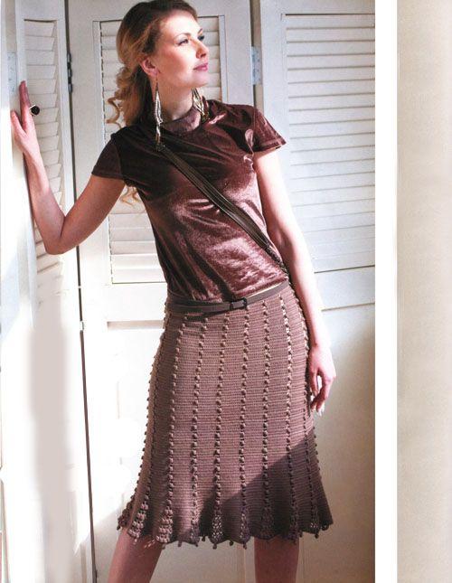 стильная вязаная юбка годе крючком