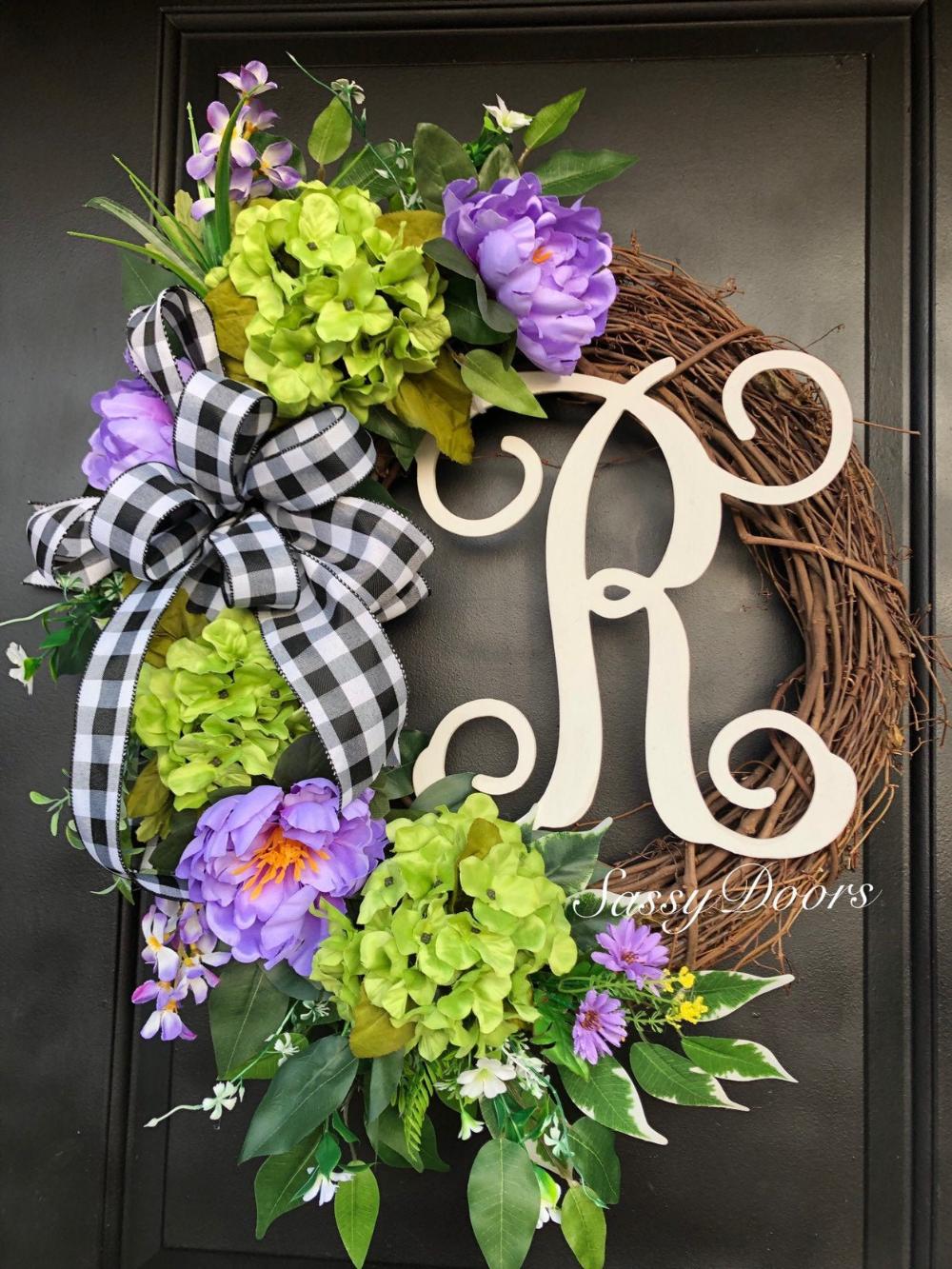 Front Door Wreath Initial Wreath Summer Wreath Monogram Wreath Purple Wreath Hydrangea Wreath Spring Letter Wreath Everyday Wreath
