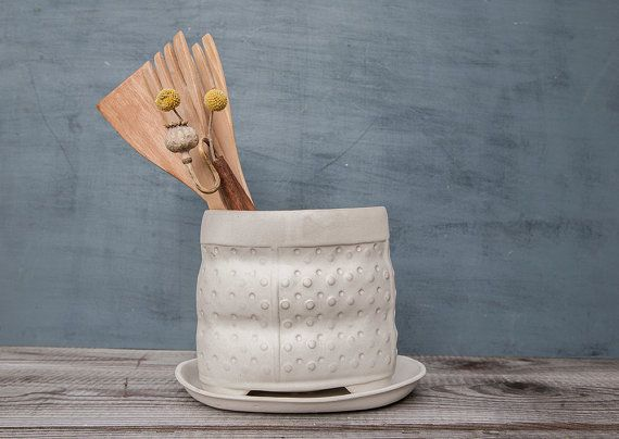 White Ceramic utensil holder, polka dot pattern vase , modern kitchen utensil holder,  large Utensil / Brush Holder