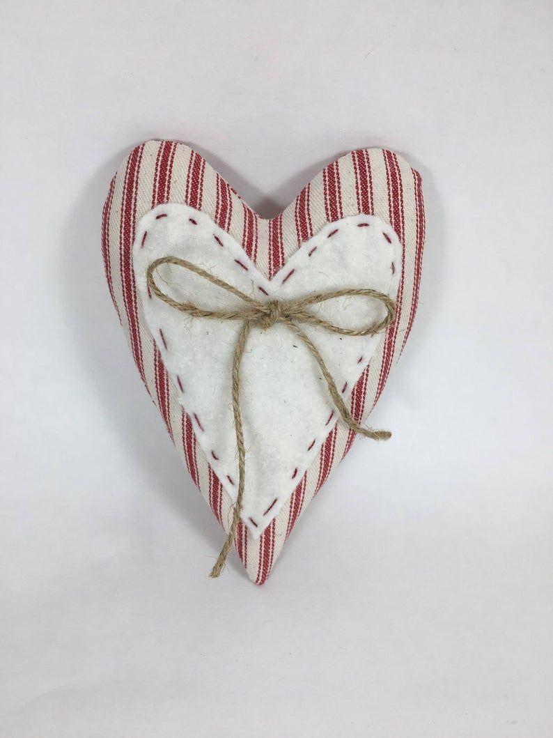 Valentines Day Heart Primitive Heart Heart Ornament | Etsy