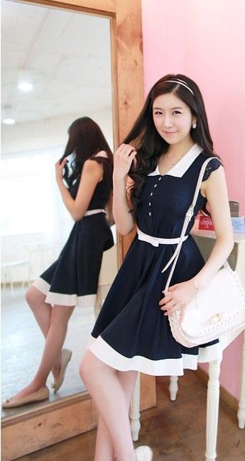 Blue Cotton Dresses with belt