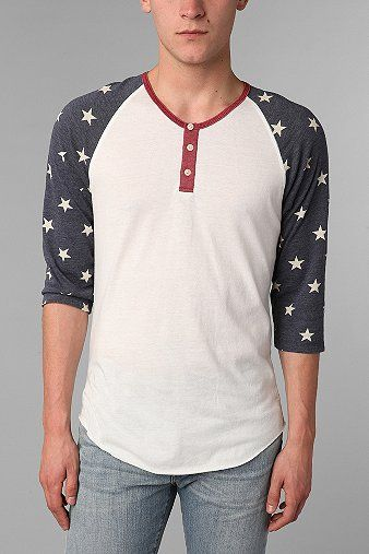 All American Man Stars -Alternative 2-Tone Patterned Henley