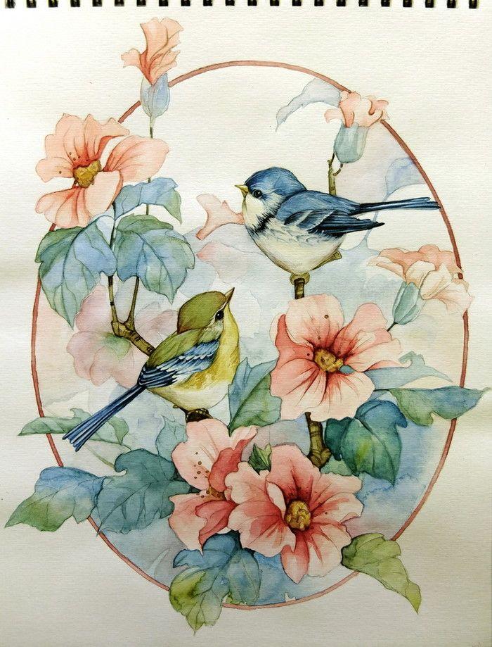 акварель птицы цветы картинки упрощенно, повышение