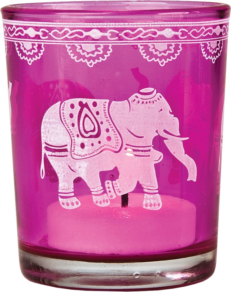 Candle Holder (3-Inch, Elephant Design, Fuchsia Pink Hand Painted ...