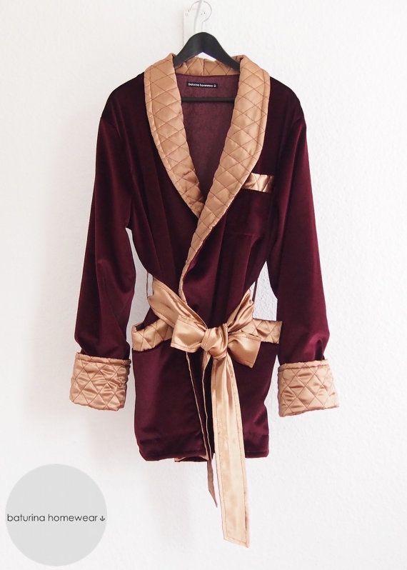 Mens Velvet Smoking Jacket Burgundy Gold Quilted Silk Collar Classic ...