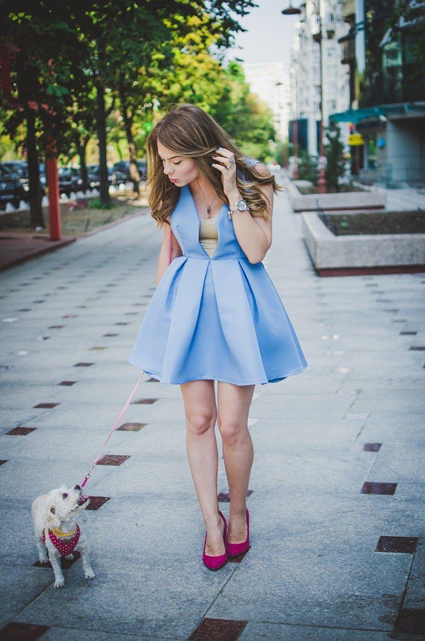 mini dress, Baby blue dresses