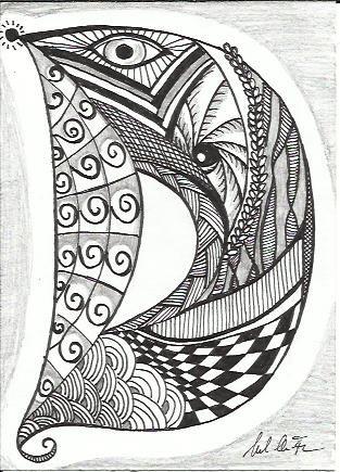 Zentangle D Alphabetically Speaking Doodle coloring