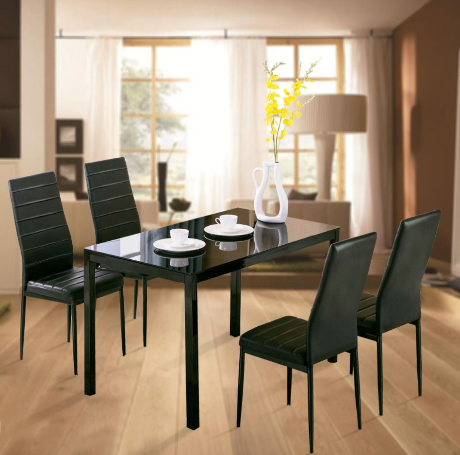 cadf7cd1e76 Kitchen Dining Set Glass Metal Table 4 Chairs Breakfast Eating Furniture  Nook  Costway