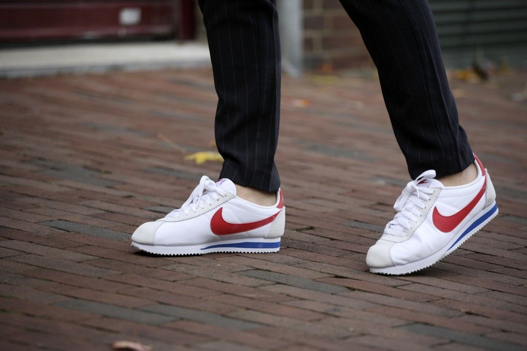 nike cortez with suit