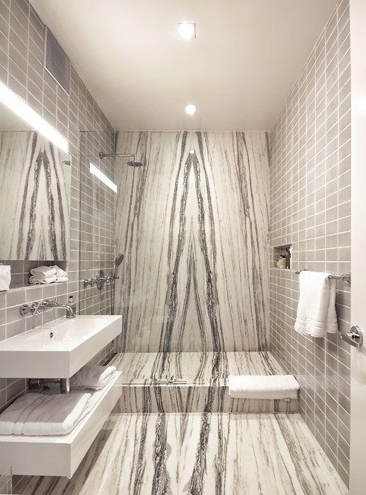 BookMatched Slab Contemporary Bathroom Remodel ProStone Solutions - Marble slab bathroom