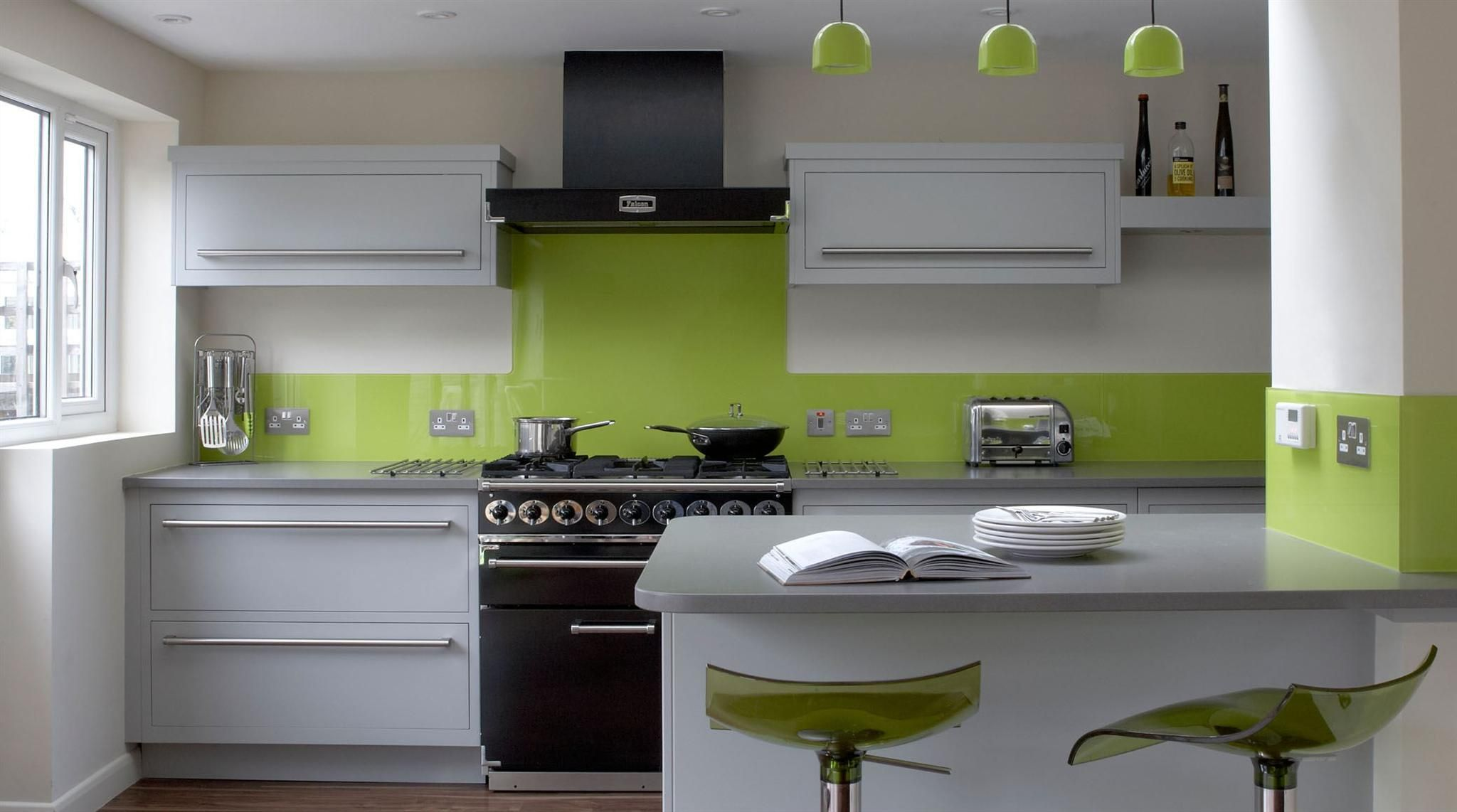 Linear Kitchen With Lime Green Splashback Green Kitchen