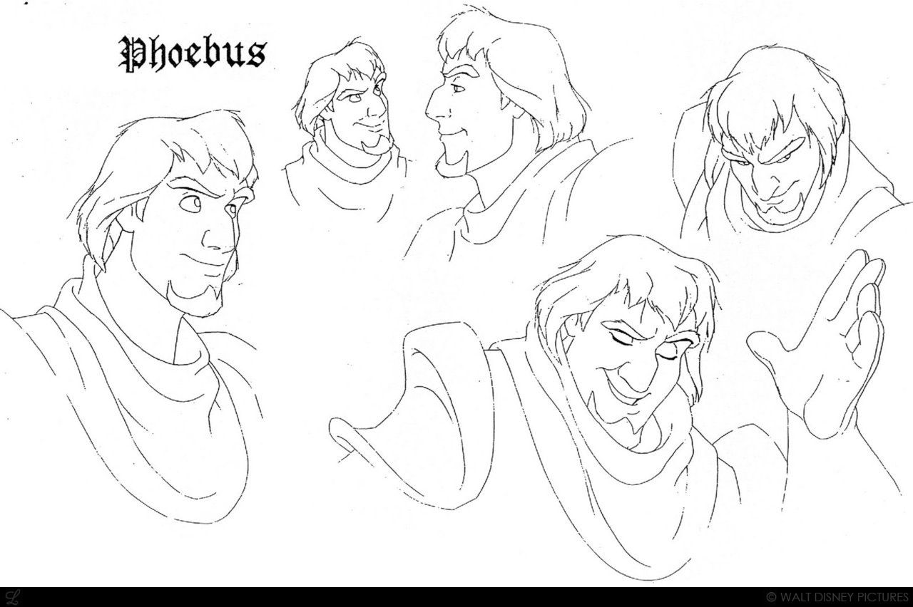 "Concept art of the gallant Phoebus from Disney's ""The Hunchback of Notre Dame"" (1996)."