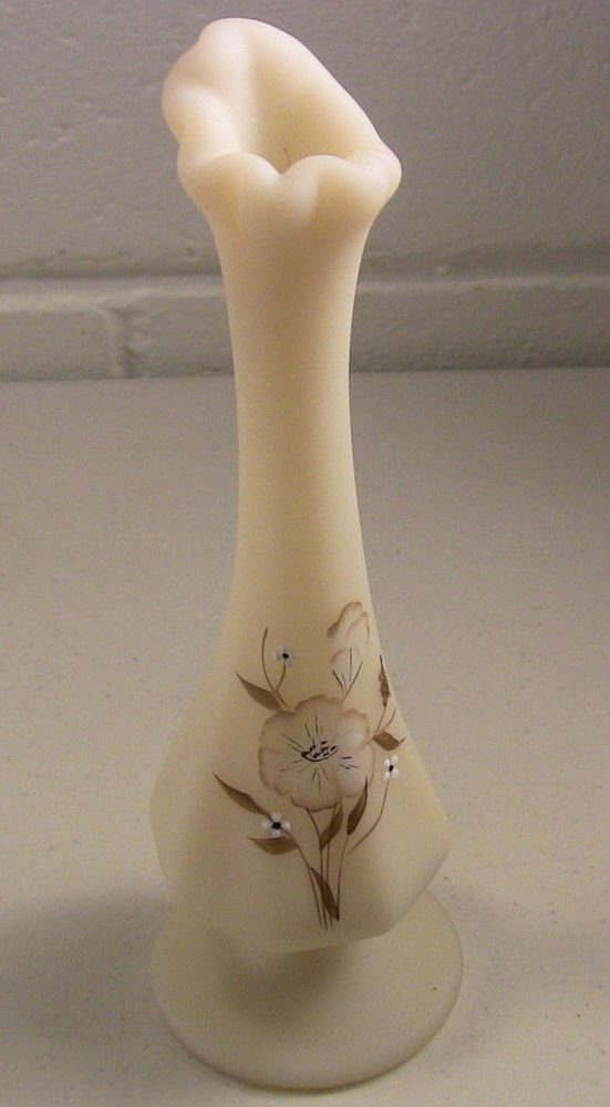 Vintage Fenton Glass Vintage Fenton Vase Ivory Satin Glass Bud Vase