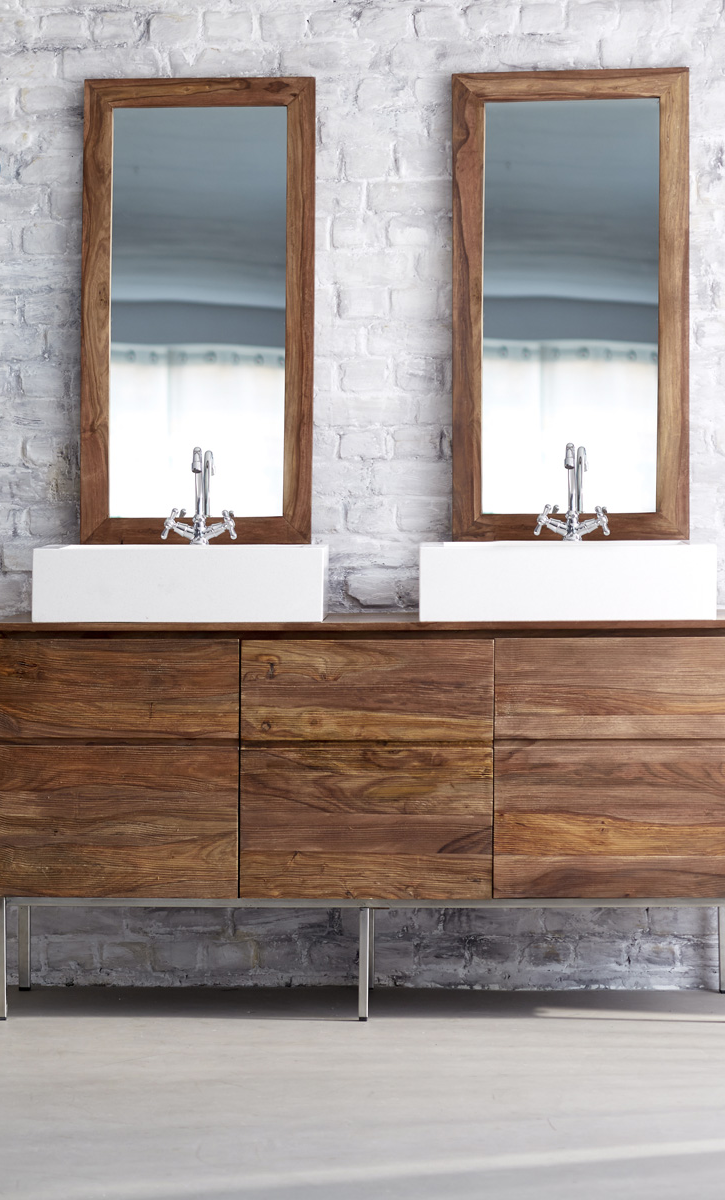 Moderner Doppelwaschtisch Aus Holz Mit Stahl Beinen Waschtisch