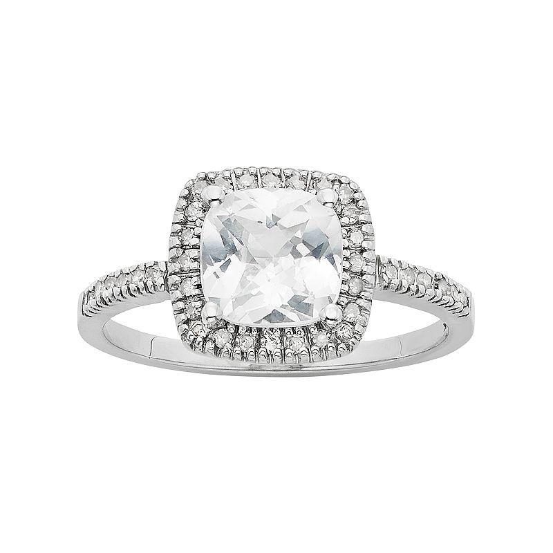 Lab Created White Sapphire 1 5 Carat T W Diamond 10k White Gold Halo Ring Halo Rings White Sapphire White Gold