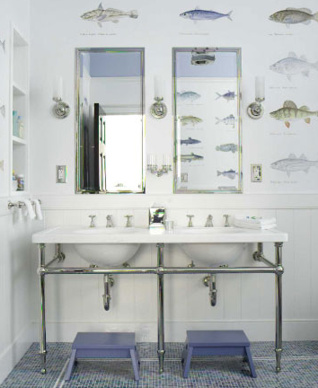 Attractive Double Marble Sinks With Chrome Pedestal Base, Blue Tiles Floors, Blue  Stools, Silver