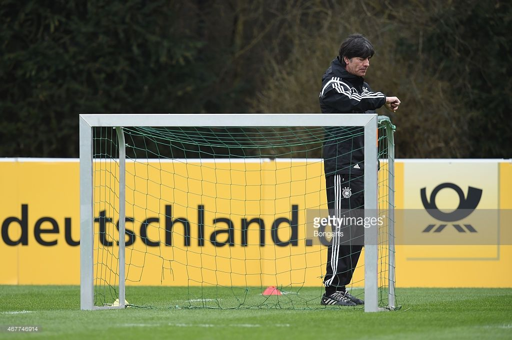Head coach Joachim Loew looks at his watch during a Germany training session ahead of their Euro...