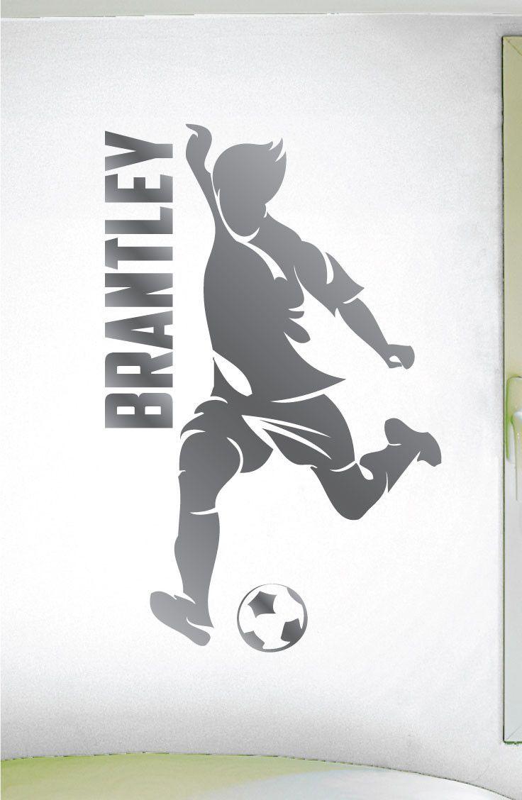 Custom Boys Name Soccer Sticker  0274  Personalized Boys Soccer Wall Decal    Soccer Theme Wall Decal   Dribbling   Kicking