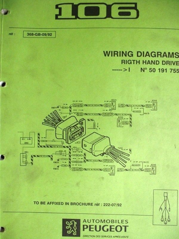 Peugeot 106 Wiring Diagram Manual 368 92 Listing In The Peugeot Car Manuals  U0026 Literature